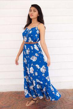 Blue Floral Maxi Dress for Summer