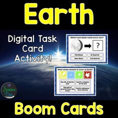 This interactive deck will challenge your students to learn the basics of moon phases, tides, eclipses, and seasons. This digital resource is hosted on Boom Learning™️. Boom Cards™️ require absolutely no printing, laminating, cutting, or grading. It's all done for you!