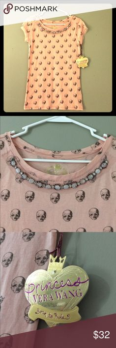 🌸NWT Vera Wang Fashion Top NWT Gorgeous Vera Wang Scull Top with beautiful beaded neck line. Very soft fabric!! 60% Cotton 40% Modal Says XS but will fit a reg. Small All items come from a Smoke free Pet free home Thanks for stopping!!!! 🌸💕😁 Vera Wang Tops Tees - Short Sleeve