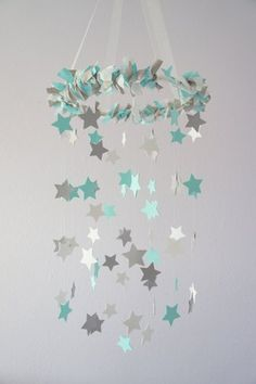 Aqua Gray Nursery Star Mobile- Baby Nursery Decor, Baby Shower Gift Except in purple and gray.
