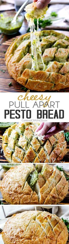 4 Ingredient, make ahead buttery, Cheesy Pull Apart Pesto Bread is SO addictingly delicious and couldn't be any easier!  the perfect party or game day appetizer or AMAZING company side!