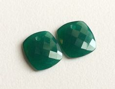 Green Chalcedony Faceted Rectangle 2 pcs Matched by gemsforjewels
