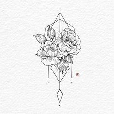 Illustration by – Yasmin Fashions – Tattoo Designs M Tattoos, Cute Tattoos, Body Art Tattoos, Sleeve Tattoos, Female Tattoos, Tatto Floral, Floral Tattoo Design, Flower Tattoo Designs, Henna Designs