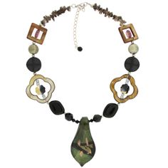 Bucasi - Glass Bead Necklace in Olive, $16.95  with Free Shipping!