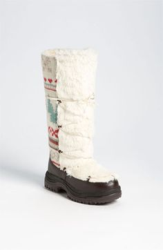Snow boots: buy cheap annd ugly pair of snow boots, cut the cuff of and sew a hand knit one on instead!!!