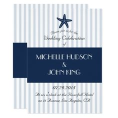 Nautical Blue Sailor Striped Wedding Invitation - wedding invitations diy cyo special idea personalize card