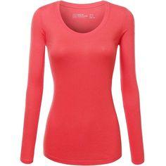 AmazonSmile: FPT Womens Basic Scoopneck Long Sleeve T-Shirt BLACK... (775 INR) ❤ liked on Polyvore featuring tops, long sleeve tops, scoop neck top, long sleeve scoop neck top and scoopneck top