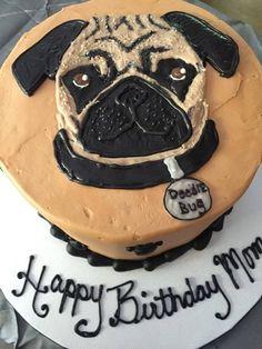 Pug Birthday Cake, Puppy Birthday, Birthday Ideas, Cake Cookies, Cupcake Cakes, Cupcakes, Fnaf Cake, Pugs, Pug Cake