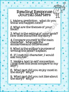 Reading response journal starters