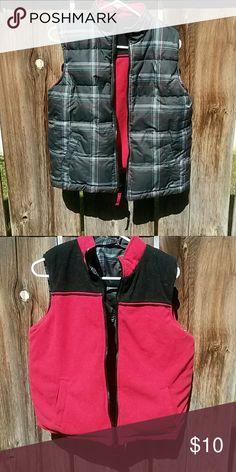 Reversable vest One side plaid one side flece. Pockets on both sides Jackets & Coats Vests
