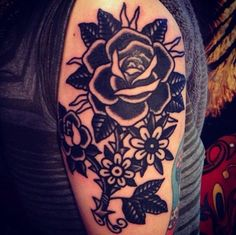 Traditional Black Rose Tattoo by Hillary Fisher-White