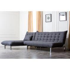 Abbyson Living Bedford Gray Linen Convertible Sleeper Sectional Sofa | Overstock™ Shopping - Big Discounts on Abbyson Living Sectional Sofas