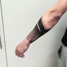 Search inspiration for a Geometric tattoo. Forearm Band Tattoos, Forarm Tattoos, Cool Arm Tattoos, Wrist Tattoos For Guys, Best Sleeve Tattoos, Hand Tattoos, Hexagon Tattoo, Geometric Sleeve Tattoo, Shiva Tattoo Design