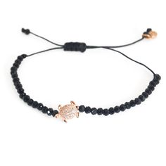 Sea turtle jewelry-SEMI-PRECIOUS STONE BRACELET Handmade bracelet with gold plated (18K) bronze sea turtle and cz stones. By Anna Maria Mazarakis. Comes in designer's shocking pink pouch. Also available with red stones