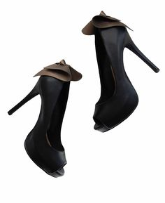 ELLE High Heel Bow Open Toe Black Shoes