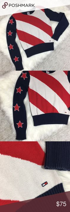 90's Tommy Jeans crew neck logo flag sweater crop Vintage 90's tommy jeans sweater / bold stripes and stars along sleeve / small tommy logo on front / super trendy and in great condition with only one minor snag on chest ( see photo ) it's a sweater that will sit just at your waistline Tommy Hilfiger Sweaters Crew & Scoop Necks