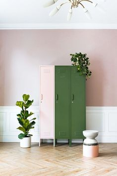 Love these pink and green lockers for storage - especially against the white paneling and pink wall! Living Room Green, Bathroom Kids, Pink Room, White Paneling, Pink Walls, Scandinavian Home, Lockers, Tall Cabinet Storage, Home Accessories