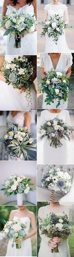 trending greenery wedding bouquets with succulents for 2018 #weddingflowers #weddingbouquets #weddingideas #weddingtrends