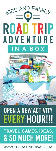 We have created the ultimate ROAD TRIP ADVENTURE IN A BOX! It's filled with free road trip activities, printables, and games for every hour you are traveling!