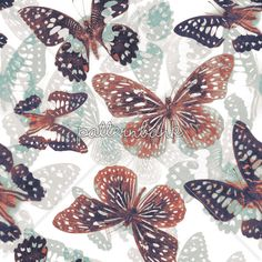 Colorful Butterflies Full-Repeat Pattern Light