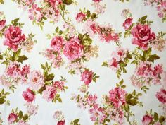 Romance Roses deco fabric vintage villa rose pink on white fabric Retro Fabric, Patchwork Fabric, Is 61, Fabric Structure, Shabby, Sewing Accessories, Vintage Country, Vintage Roses, White Fabrics