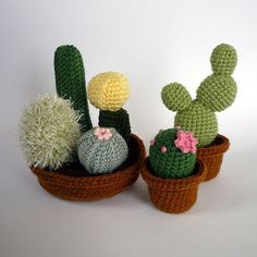 Realistic Crocheted Cacti and Succulents by Luna's Crafts contemporary-kids-decor Crochet Cactus, Crochet Flowers, Crochet Toys, Knit Crochet, Crochet Slippers, Hand Crochet, Knitting Projects, Crochet Projects, Amigurumi Patterns
