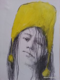 Items similar to Girl With Yellow Hat on Etsy Drawing Studies, Portrait, Drawings, Painting, Etsy, Vintage, Art, Sketches, Drawing
