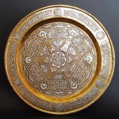A beautiful well preserved and finely done Copper tray with Silver inlay made in Damascus work Technique. Tray is especially solid and heavy -