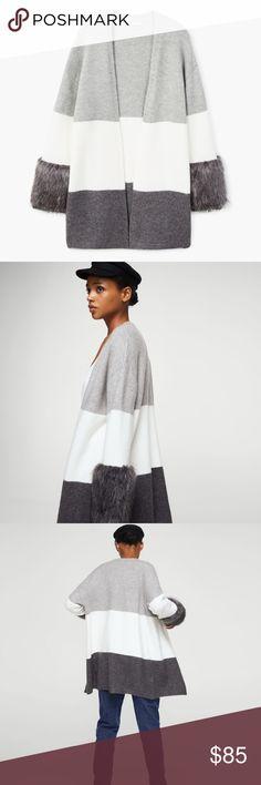 Faux Fur sleeve cardigan NWOT lovely cardigan NWOT. Fix price Mango Sweaters Cardigans