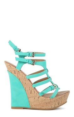 Deb Shops Open Toe Platform Wedge with Colored Heel