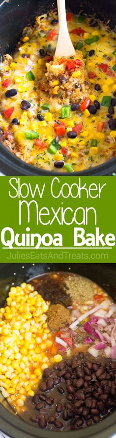 This Slow Cooker Mexican Quinoa Bake takes only 10 minutes of prep work and is made with quinoa and all your favorite Mexican ingredients…