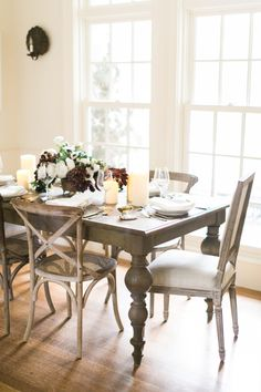 Classic rustic table decor: http://www.stylemepretty.com/living/2016/11/30/from-neutrals-to-all-out-sparkle-make-your-home-truly-shine-this-holiday/ #sponsored