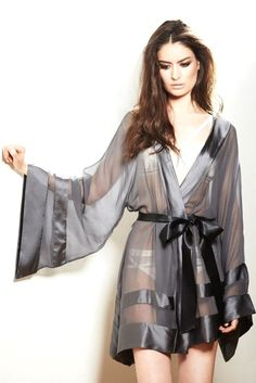 Peyton Kimono by Nicole Gill — An absolutly breathtaking kimono made from sheer silk. Peyton Kimono par Nicole Gill – Un kimono à couper le souffle en soie pure. Belle Lingerie, Pretty Lingerie, Sheer Lingerie, Beautiful Lingerie, Lingerie Sleepwear, Lingerie Set, Nightwear, Sleepwear Women, Ropa Interior Boxers