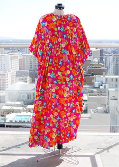 Vintage 60s Psychadelic Floral Pleated Caftan Dress *Free US Shipping*