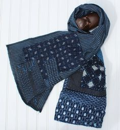 Boro scarf made from vintage Japanese shima, handwoven indigo cotton with sashiko stitching