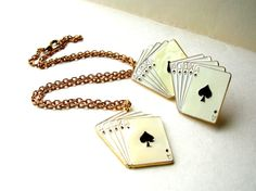 Poker Jewelry Set  Ace of Spaces Necklace by BohemianGypsyCaravan
