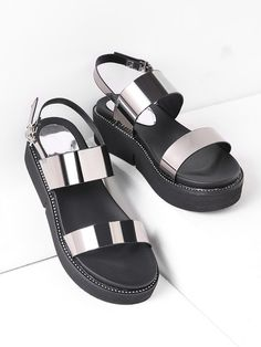 SheIn offers Studded Detail Metallic Patent Leather Flatform Sandals & more to fit your fashionable needs. Silver Sandals, Leather Sandals, Shoes Sandals, Patent Leather, Studded Leather, Stylish Sandals, Online Shopping Shoes, Metallic Shoes, Hot Shoes