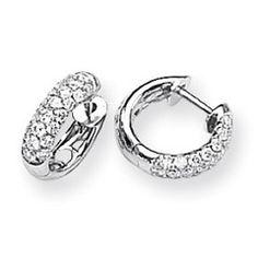 Cute small diamond hoop earrings in 14k white gold.