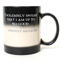 "Ohhhh gosh, I want this!! Changes from ""I solemnly swear that I am up to no good."" to ""Mischief Managed"" when you pour something hot into it!"