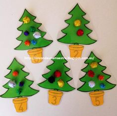 Un material que tenía en el tintero y que todavía no os había enseñado, son estos arbolitos de Navidad que nos ayudan a trabajar los números... Christmas Time, Christmas Ornaments, Christmas Ideas, Preschool Math, Holiday Decor, Kids Math, Anniversary Cakes, Educational Crafts, Noel