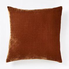 Luxe Velvet Square Pillow Cover - Copper | west elm