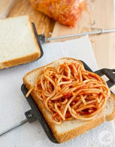 Camping - spaghetti and garlic bread pockets made in a pie iron. We grew up on spaghetti sandwiches but the pie iron would be so much better. Camping Meals, Camping Hacks, Camping Stuff, Family Camping, Backpacking Meals, Camping Cooking, Camping Food Pie Iron, Camping Kitchen, Diy Camping