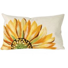 Trans Ocean Imports Liora Manne Sunflower Indoor Outdoor Throw Pillow ($66) ❤ liked on Polyvore featuring home, home decor, throw pillows, yellow, sunflower home decor, floral throw pillows, handmade home decor, yellow toss pillows and indoor outdoor throw pillows