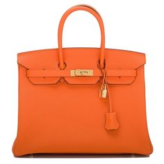 Hermes Orange H Togo Birkin 35cm Gold Hardware |... ($19,500) ❤ liked on Polyvore featuring home, home decor, bags, hermès, orange home accessories, gold home decor, orange home decor and gold home accessories