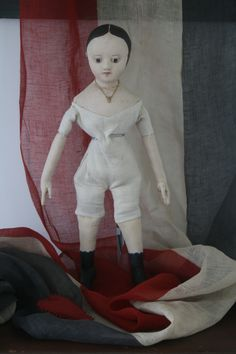 """This 18 inch tall, all cloth doll, is the third reproduction that I've made of my antique Izannah Walker doll """"Ismay""""."""