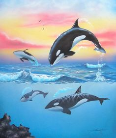 David Kassicts ORCA WHALES Limited Ed. Hand Signed Giclee on Canvas. 39.99