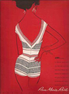 Mera diseño creativo que cautiva. | Anuncio de 1958 en favor de Rose Marie Reid.