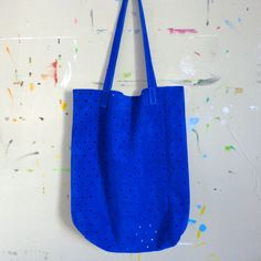Ultramarine Suede Dot Tote --Electric!