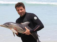 Meet Andy, the dolphin rescuer. A TINY baby dolphin that beached itself near Port Lincoln this week has been reunited with its mother, thanks to the quick thinking of a picnicking couple.