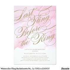 Watercolor Fling Bachelorette Party Invitation